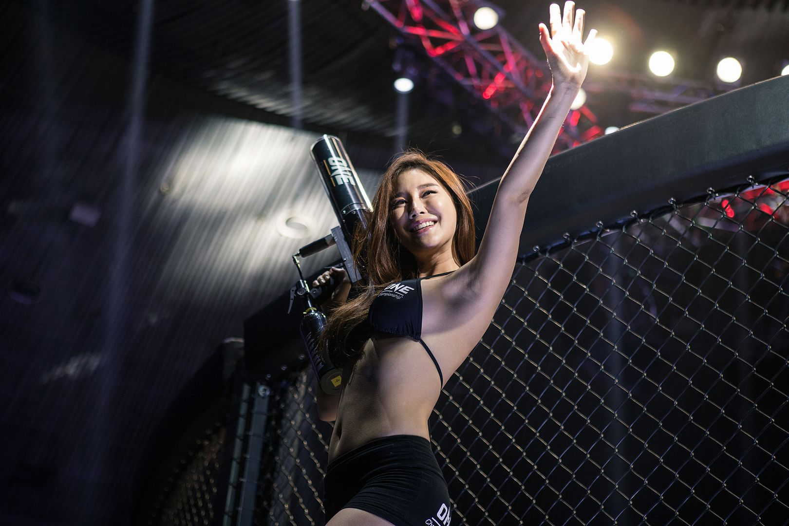 ONE Championship ring girl Cheon Sera is ready to shoot merchandise into the crowd