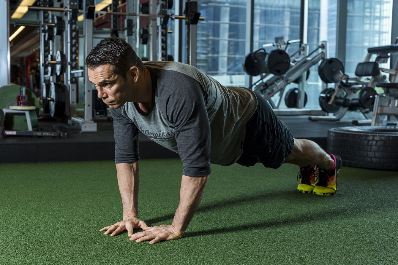 6dfc6cce06d6d Lower your body to the ground, keeping your core engaged and tight, and push  your body back up.