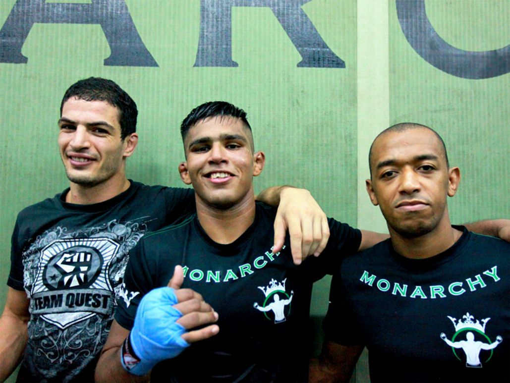 Samir Mrabet with Agilan Thaniand Bruno Barbosa at Monarchy MMA in Kuala Lumpur, Malaysia