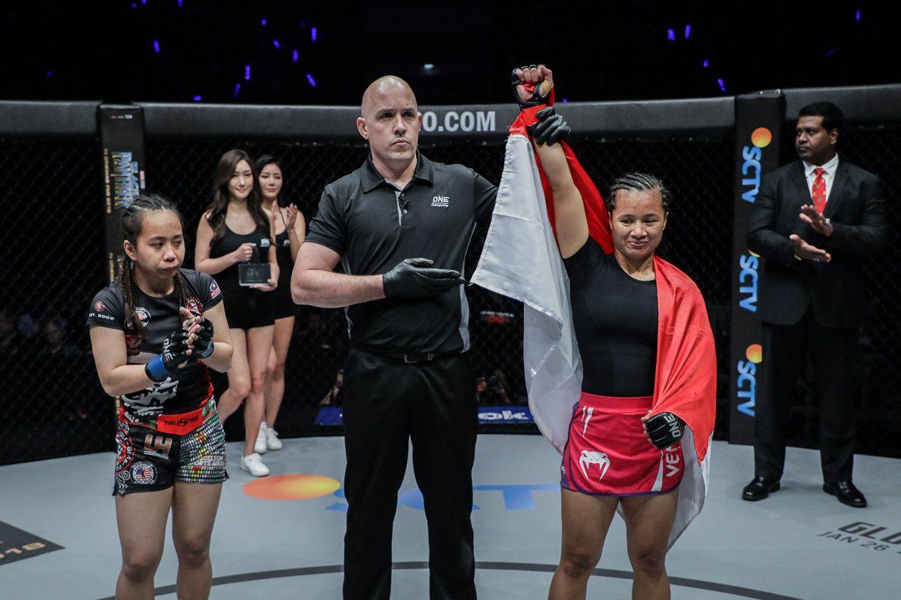 Priscilla Hertati Lumban Gaol celebrates her win against Audreylaura Boniface in Jakarta
