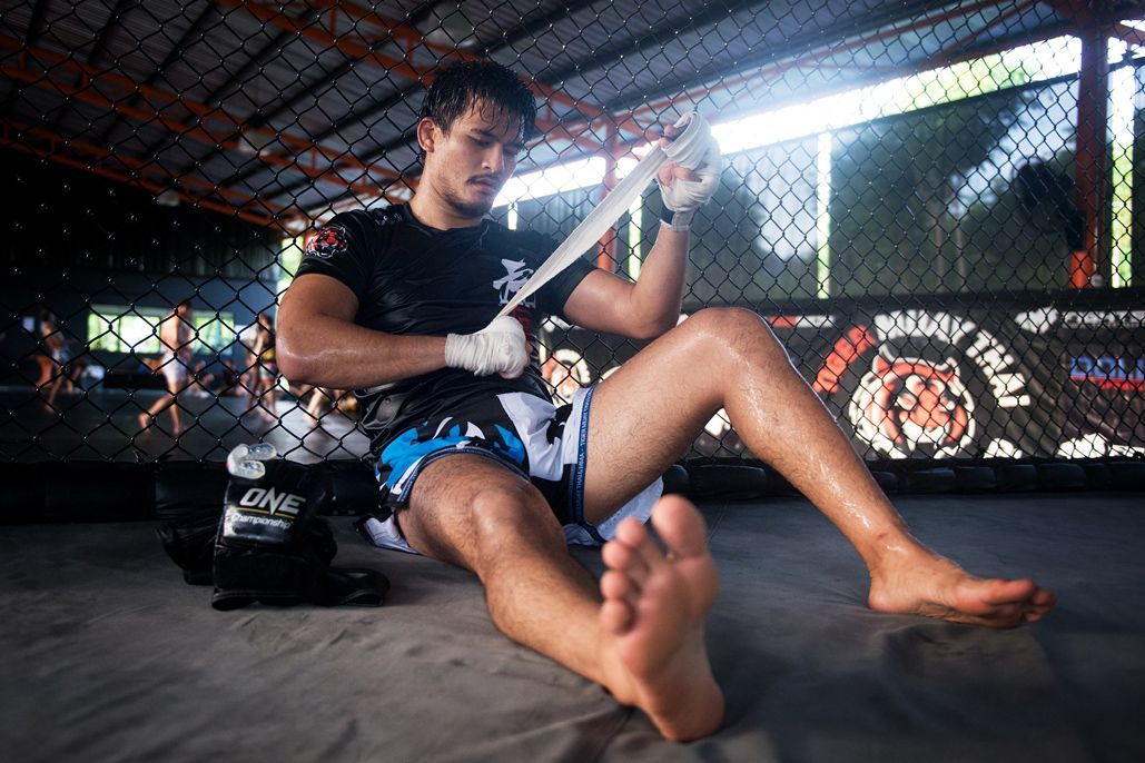 Thai mixed martial arts pioneer Shannon Wiratchai wraps his hands