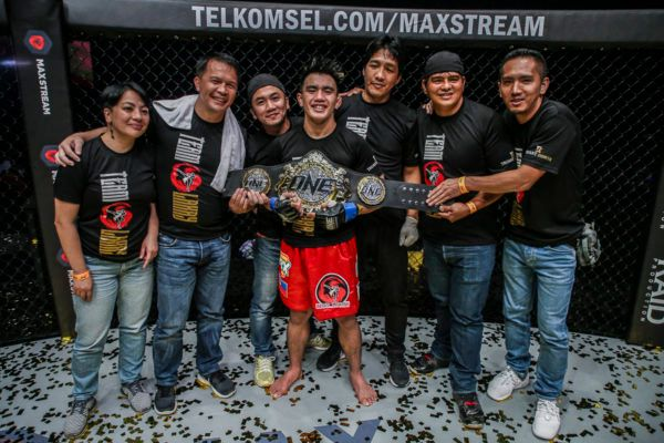 Joshua Pacio Poses With the ONE Strawweight World Title in Jakarta, Indonesia