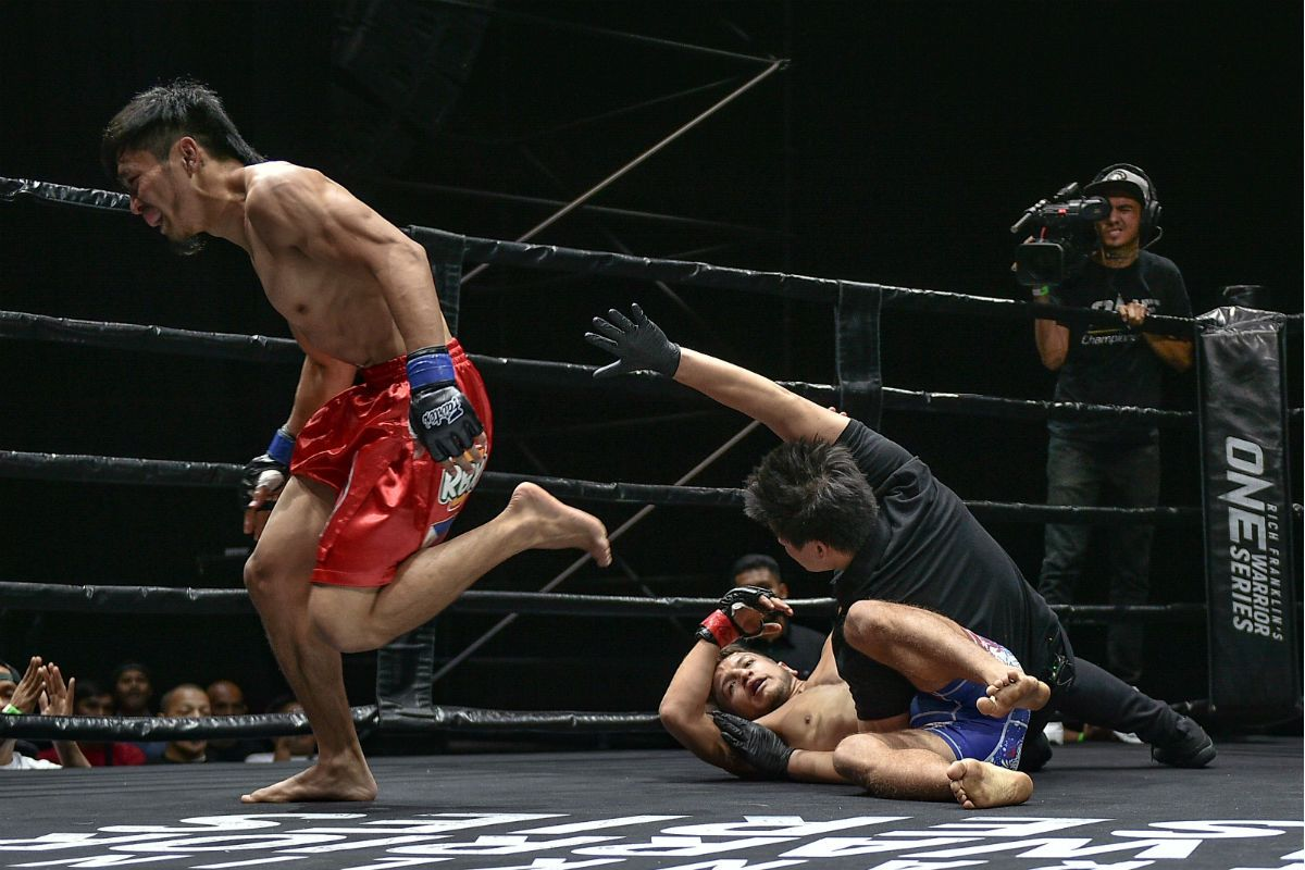 The Phlippines' Lito Adiwang celebrates after his knockout victory in ONE Warrior Series
