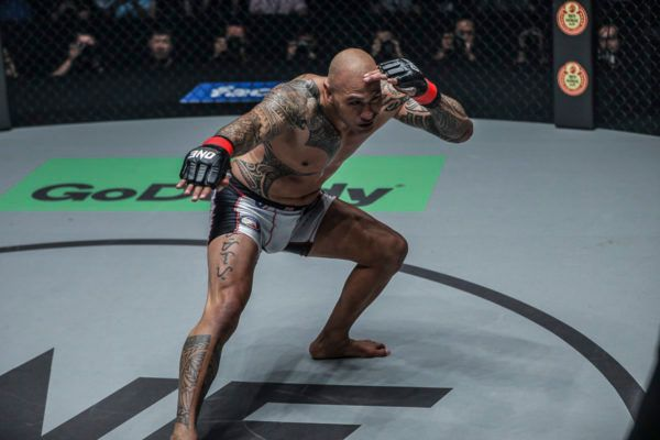 Brandon Vera celebrates after a victory over Mauro Cerilli at ONE: CONQUEST OF CHAMPIONS.