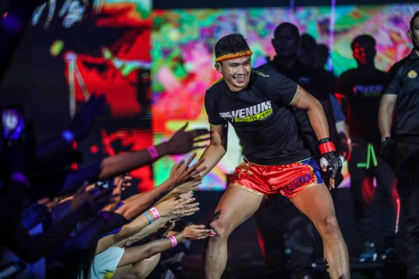 Muay Thai superstar Superlek Kiatmoo9 enters the Impact Arena in Bangkok, Thailand