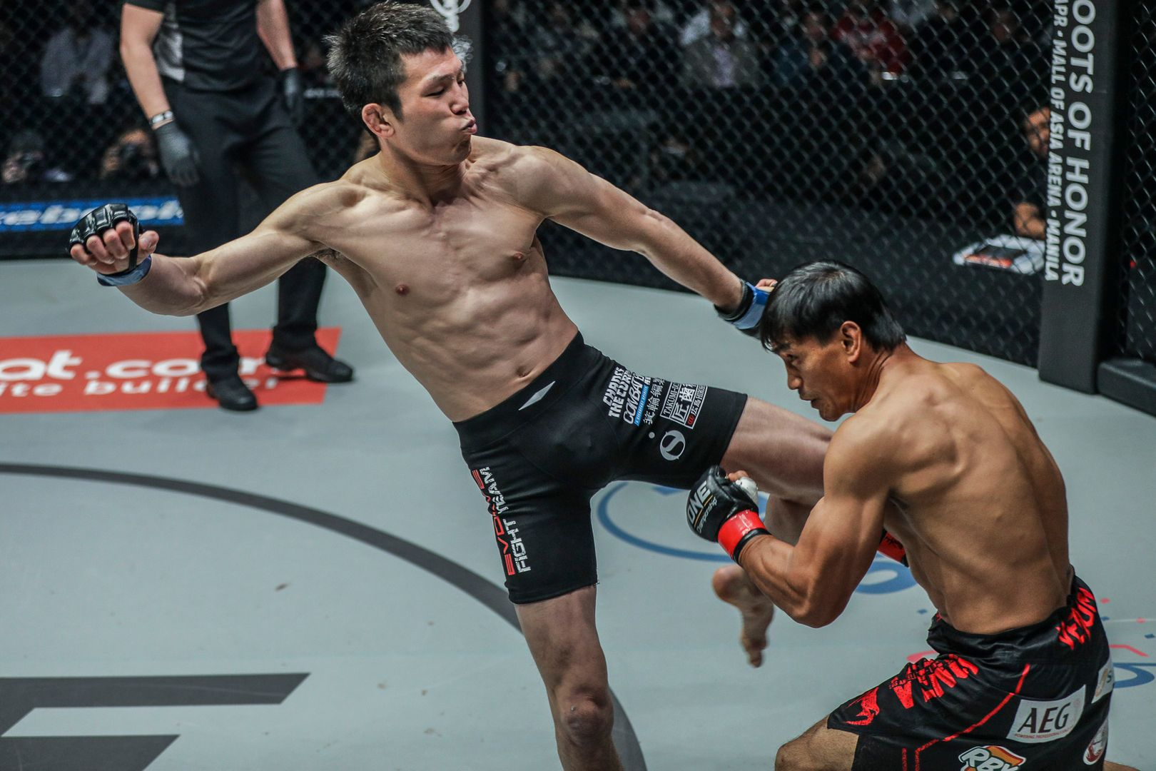 Shinya Aoki attacks Eduard Folayang at ONE: A NEW ERA