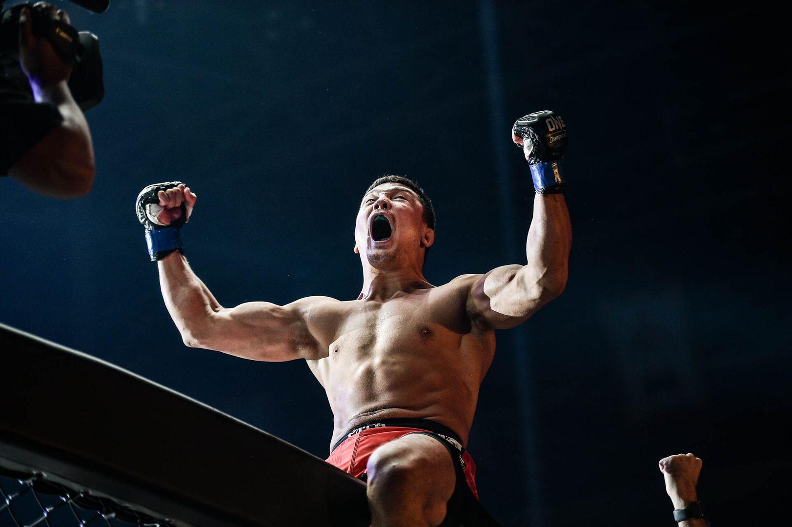 Timofey Nastyuhin celebrateshis big victory over Eddie Alvarez