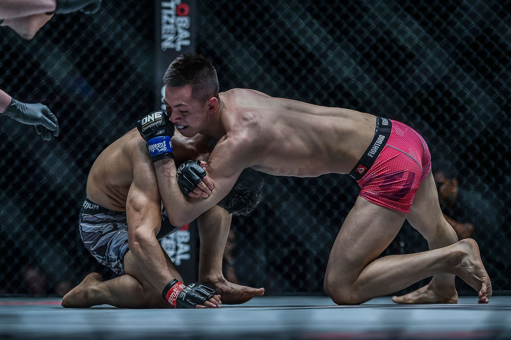 Xie Bin submits Ahmad Qais Jasoor with a D'Arce choke at ONE: ROOTS OF HONOR