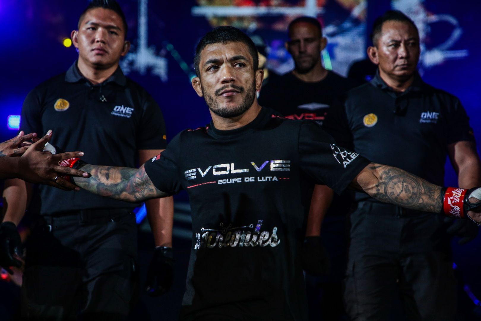 Brazilian martial arts star Alex Silva enters the Singapore Indoor Stadium