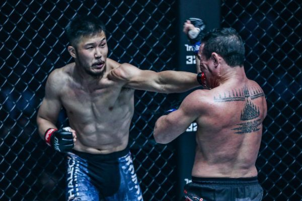 Kazuki Tokudome lands a left hand on Adrian Pang at ONE: WARRIOR'S LIGHT.