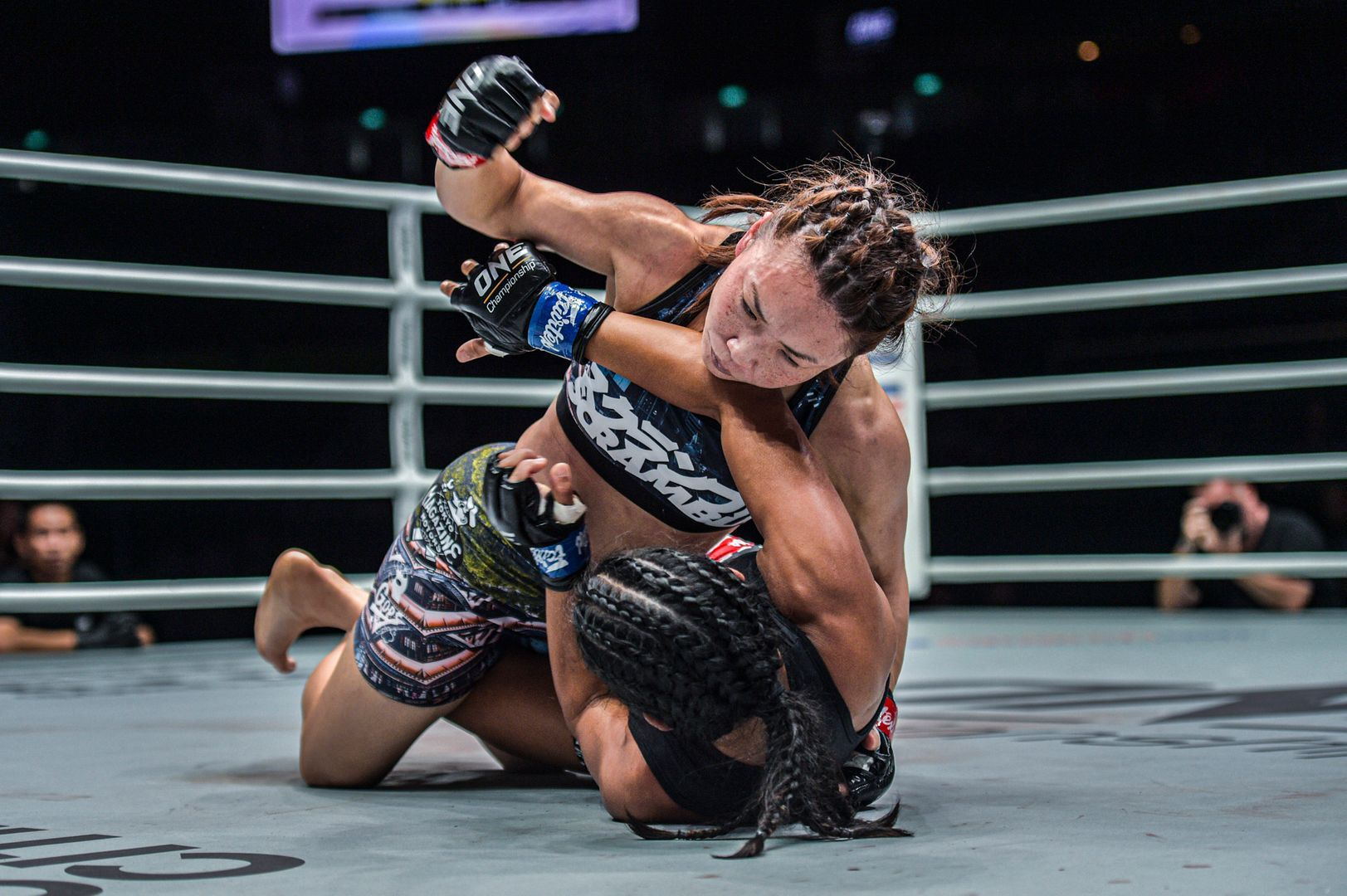Japanese mixed martial artist Mei Yamaguchi drops her ground and pound