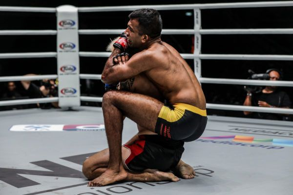 Singapore-based Indian mixed martial artist Rahul Raju chokes out Richard Corminal