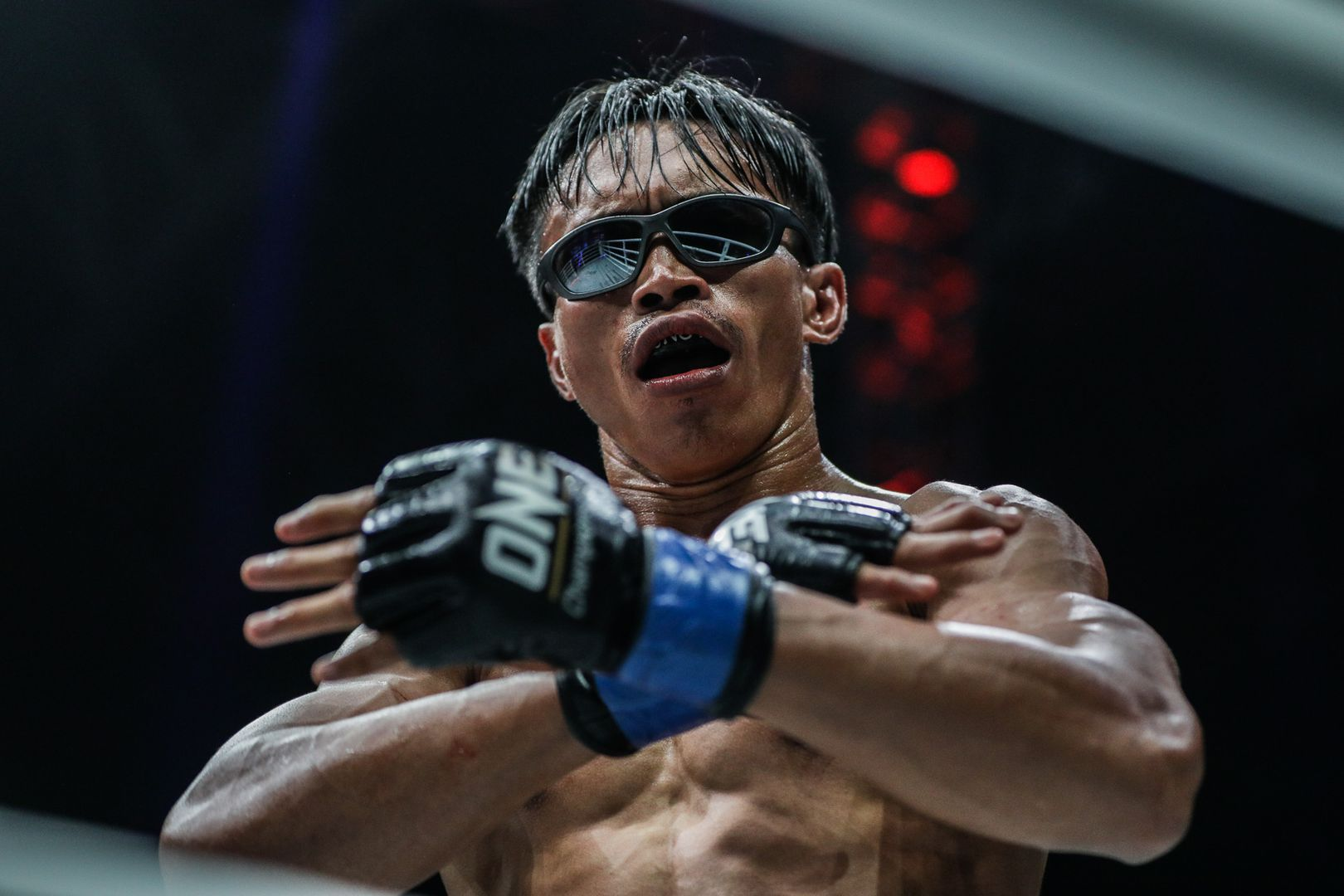 The Terminator Sunoto looks cool in his sunglasses after his victory