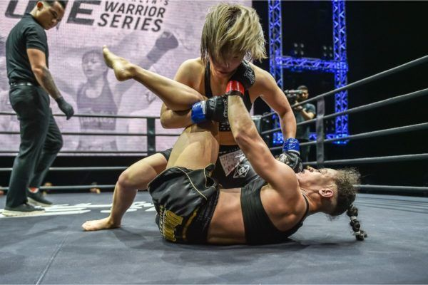 Satomi Takano works from top position in her win over Michelle Ferreira in Rich Franklin's ONE Warrior Series.