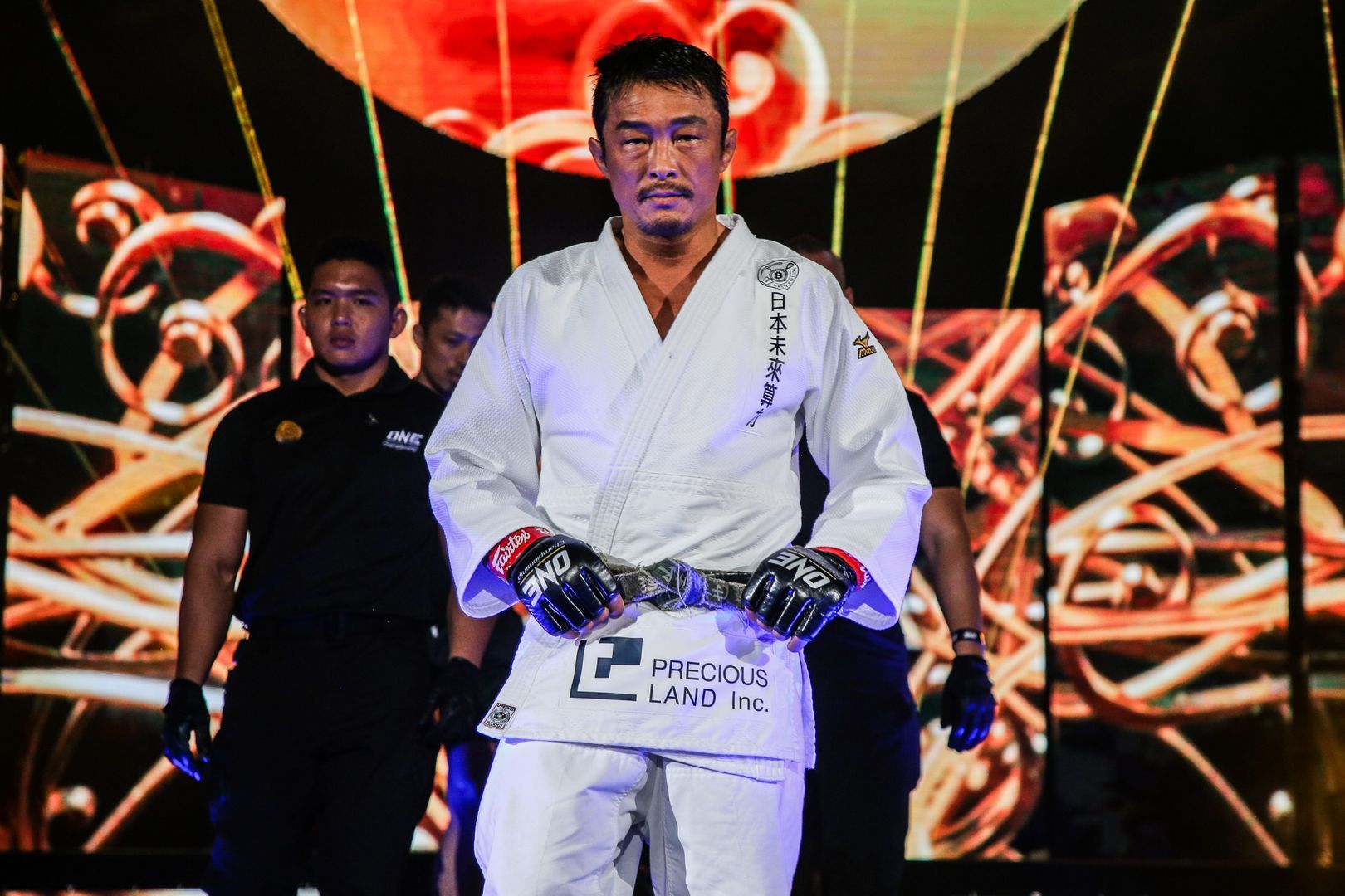 Yoshihiro Akiyama makes his signature walk down the ramp at ONE: LEGENDARY QUEST in China.