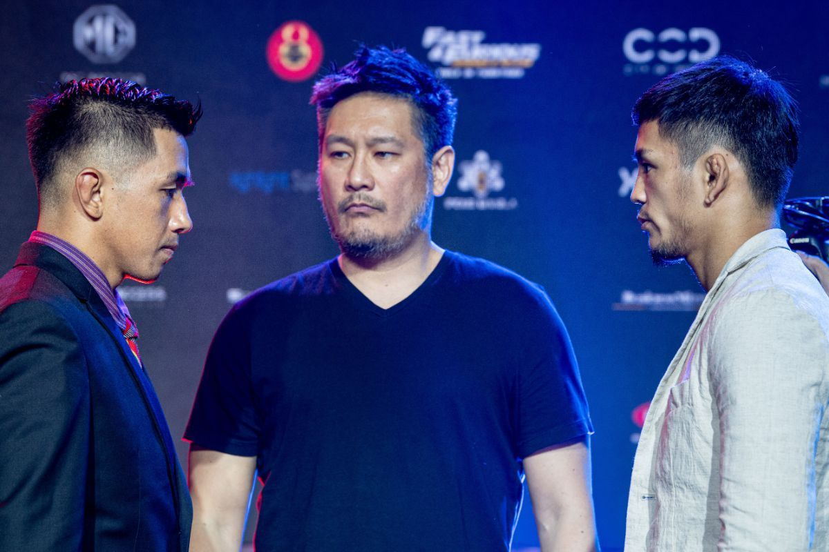 Mixed martial arts stars Geje Eustaquio and Yuya Wakamatsu state down each other