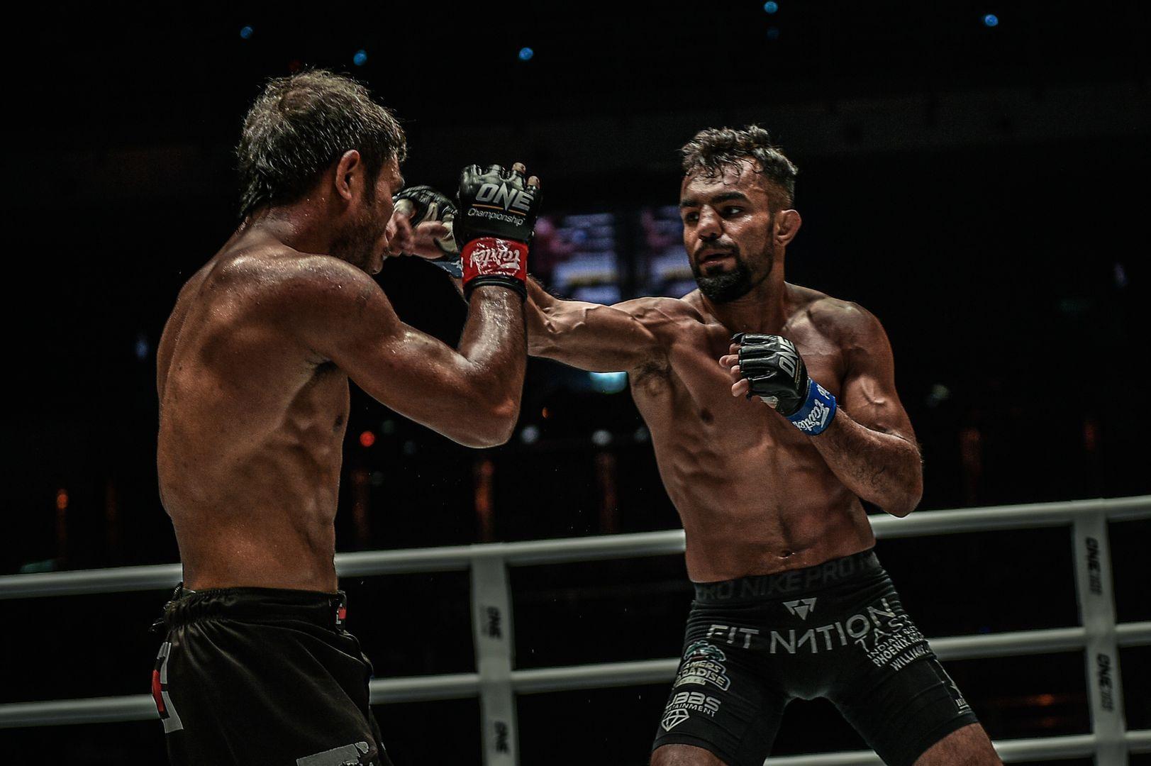 Indian mixed martial arts star Gurdarshan Mangat throws a jab