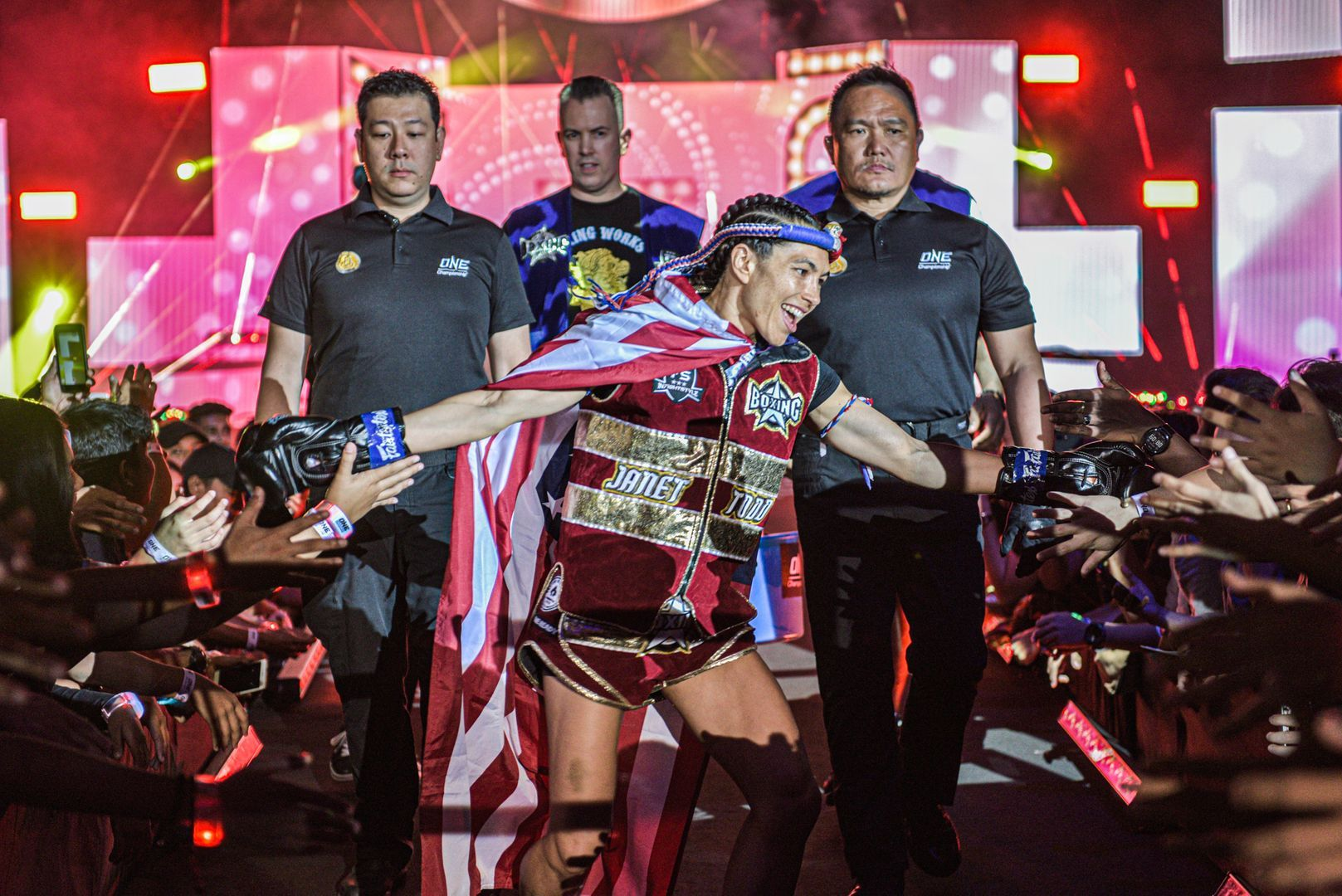 American Muay Thai star Janet Todd walks to the ring