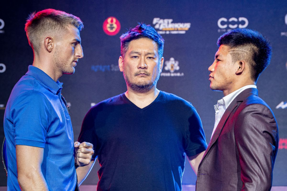 Jonathan Haggerty and Rodtang Jitmuangnon face off at the ONE DAWN OF HEROES pre-event press conference