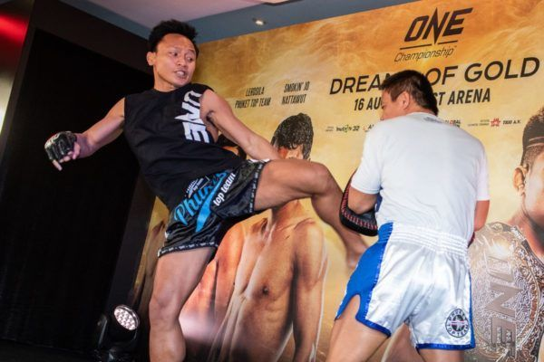 Lerdsila Phuket Top Team prepares for his match with Savva Michael at the ONE: DREAMS OF GOLD open workout in Bangkok, Thailand