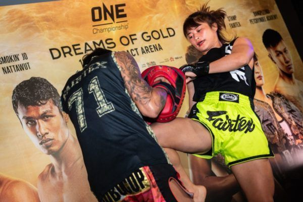Stamp Fairtex at the ONE: DREAMS OF GOLD open workout ahead of her bout with Asha Roka