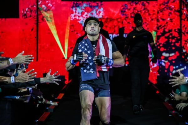 American martial arts legend Eddie Alvarez walks to the ring in Manila, Philippines