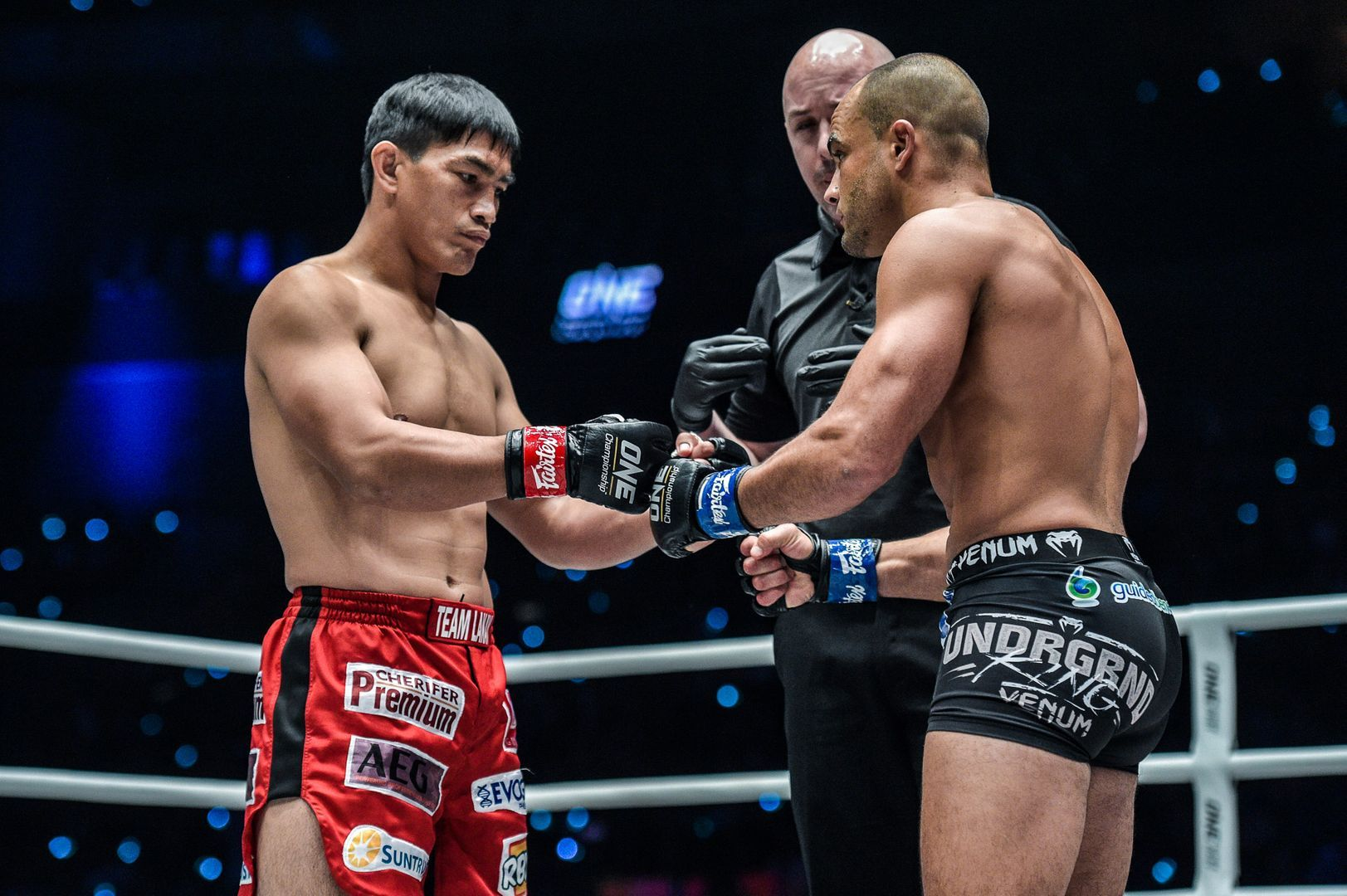 Filipino hero Eduard Folayang and American mixed martial arts legend Eddie Alvarez show respect before their battle