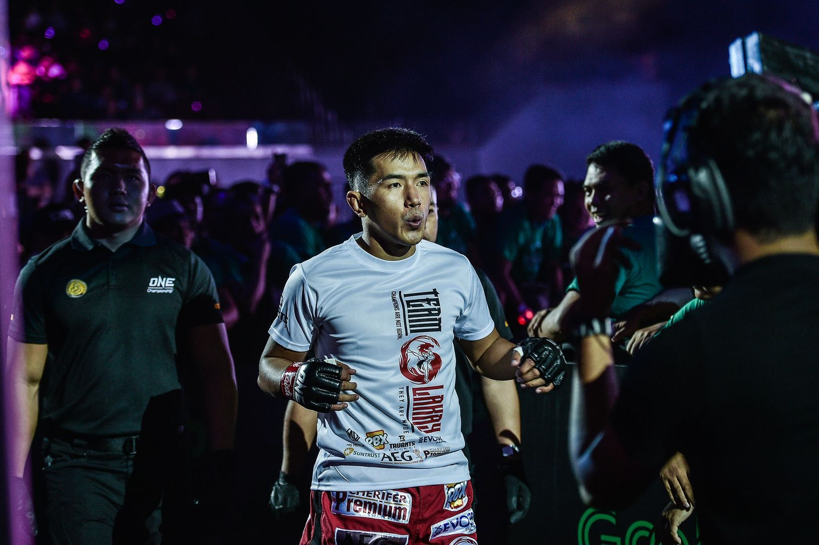 Team Lakay's Geje Eustaquio enters the Mall Of Asia Arena in Manila for ONE: DAWN OF HEROES