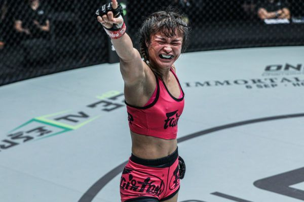 Stamp Fairtex emotional after her second mixed martial arts win