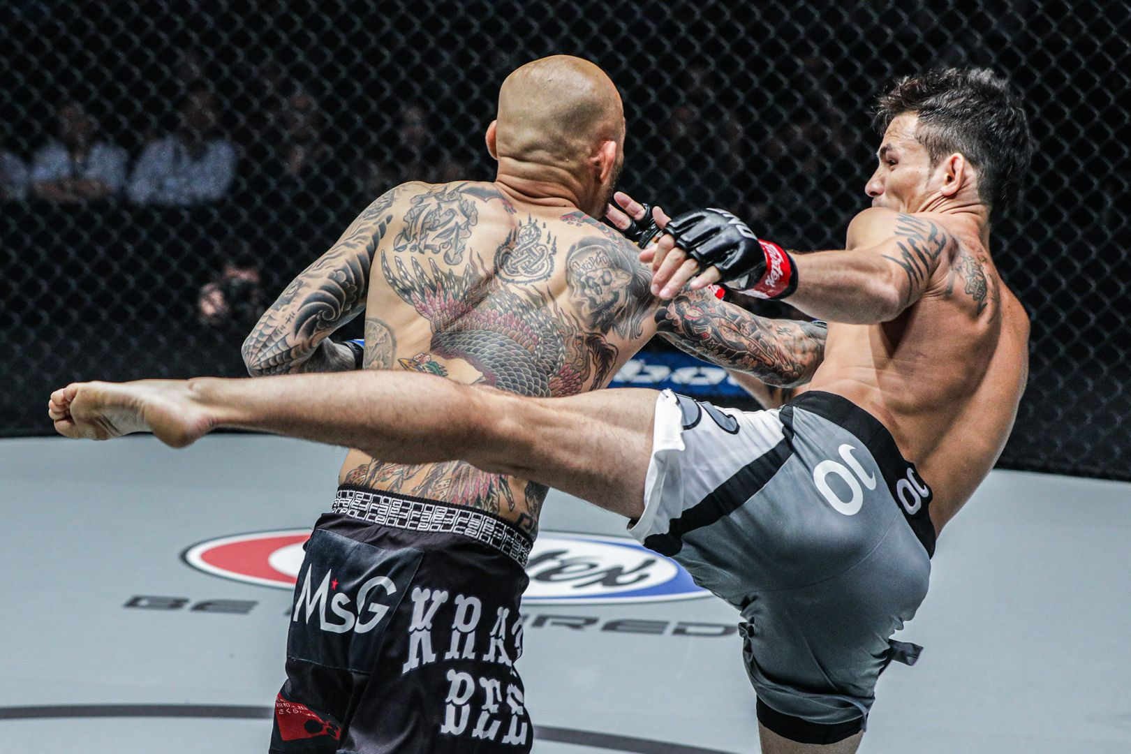 Vietnamese-American martial arts star Thanh Le lands a body kick on Kotetsu Boku