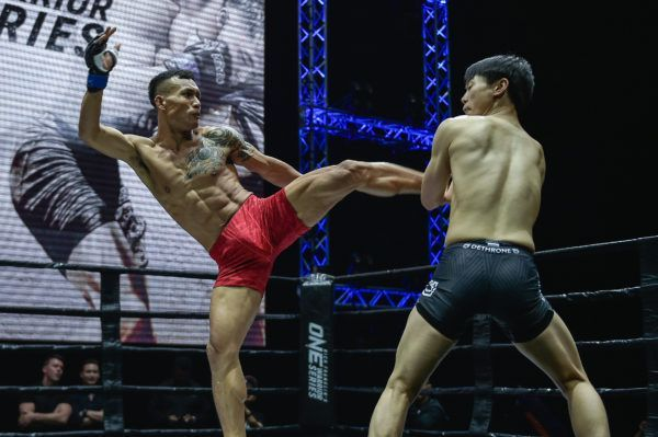 Vietnam's Tran Quang Loc lands a kick at ONE Warrior Series 4 in February 2019