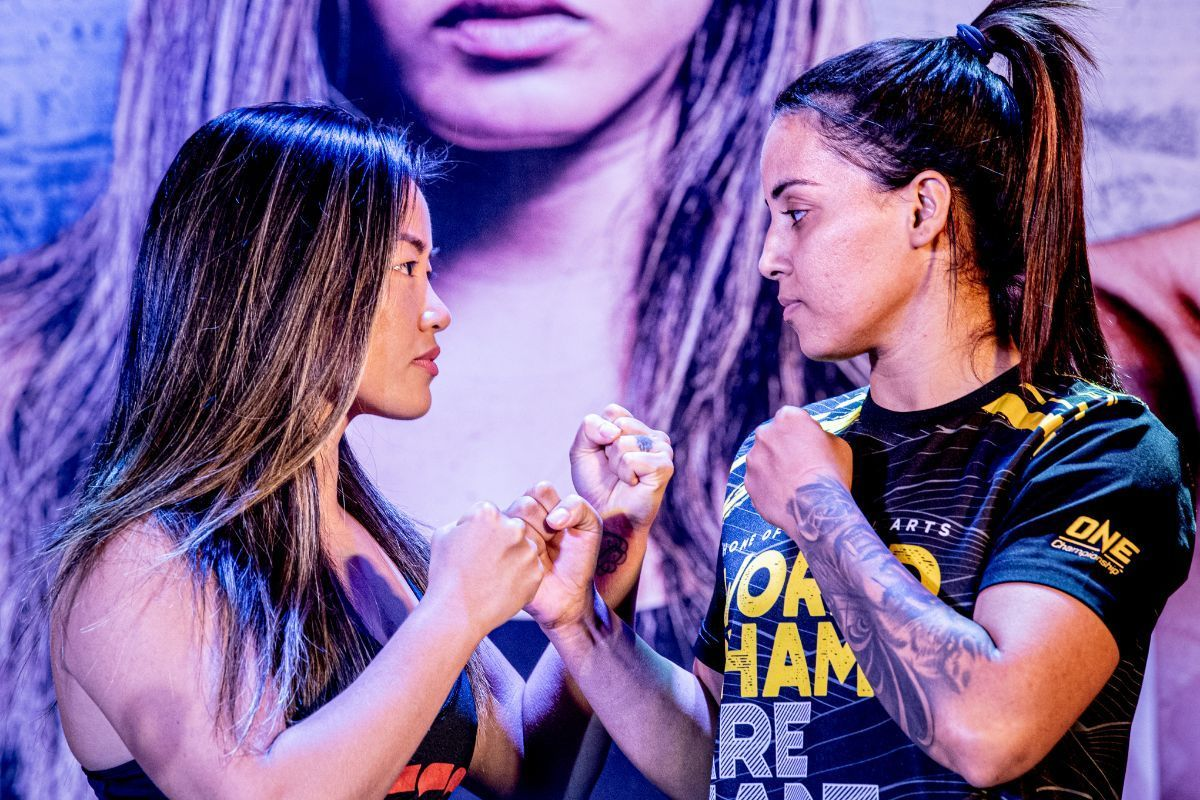 Bi Nguyen faces Puja Tomar at the ONE: IMMORTAL TRIUMPH open workout in Ho Chi Minh City, Vietnam