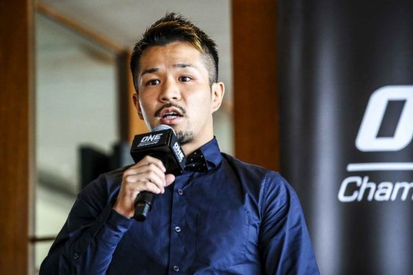 Daichi Kitakata speaks at the ONE CENTURY media day