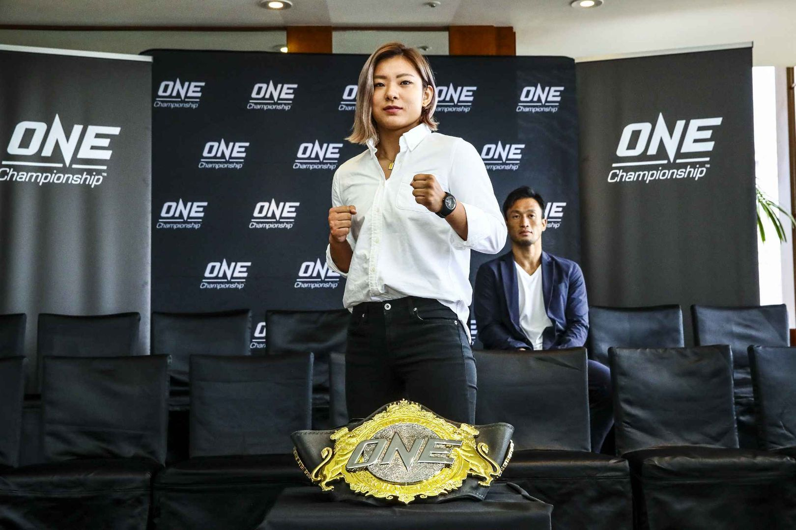 Itsuki Hirata with the ONE Championship belt ONE CENTURY media day