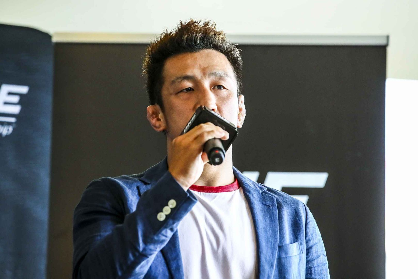 Shooto Lightweight World Champion Koshi Matsumoto speaks at the ONE: CENTURY media day