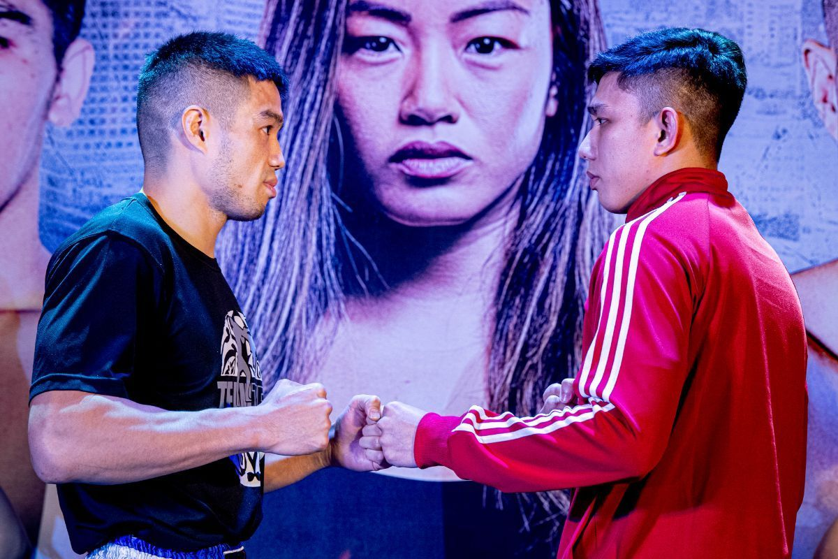 Michael Pham and Mohamad Fakri Bin Yusoff face off at the ONE: IMMORTAL TRIUMPH open workout in Ho Chi Minh City, Vietnam