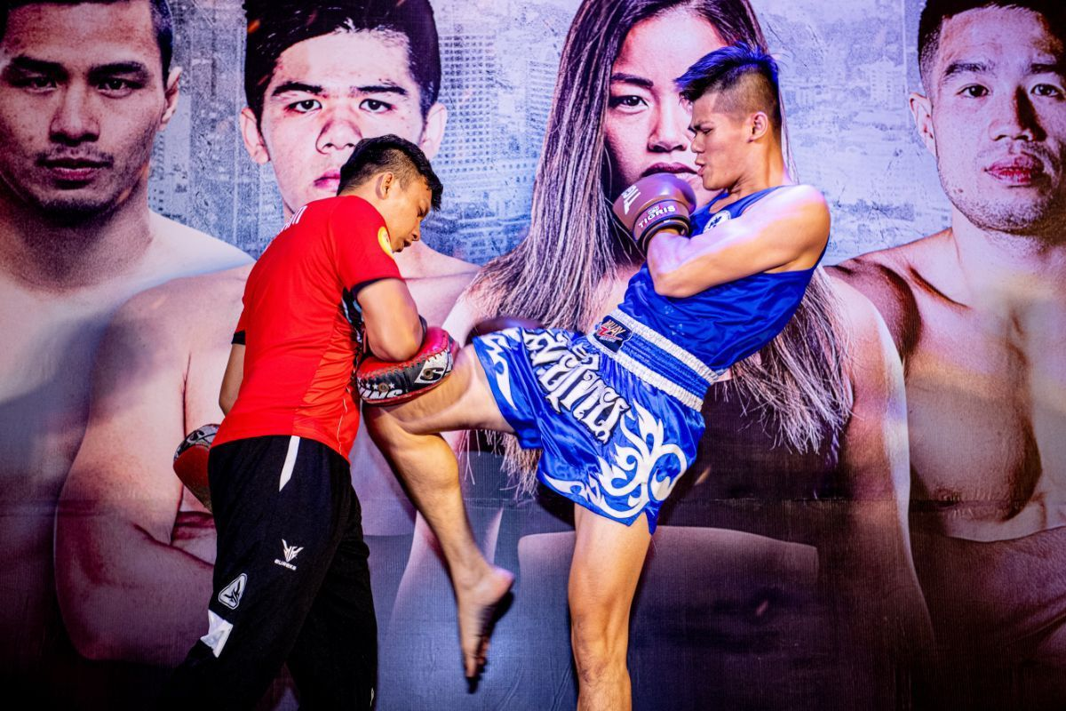 Nguyen Thanh Tung practices for the media at the ONE: IMMORTAL TRIUMPH open workout in Ho Chi Minh City, Vietnam