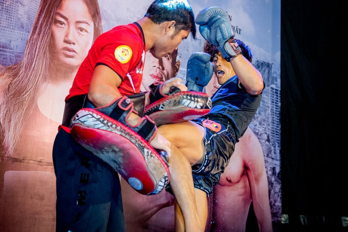 Nguyen Tran Duy Nhat shows his skills at the ONE: IMMORTAL TRIUMPH open workout in Ho Chi Minh City, Vietnam