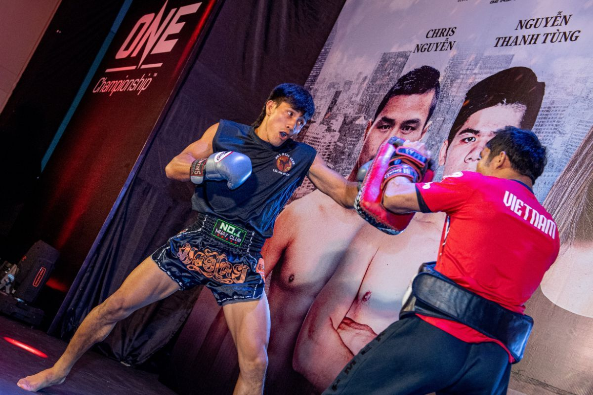 Nguyen Tran Duy Nhat practices in front of the media at the ONE: IMMORTAL TRIUMPH open workout in Ho Chi Minh City, Vietnam