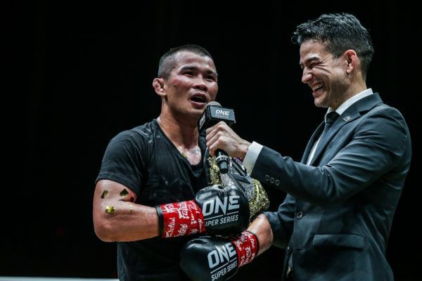 Nong-O Gaiyanghadao reacts to his win against Brice Delval at ONE IMMORTAL TRIUMPH