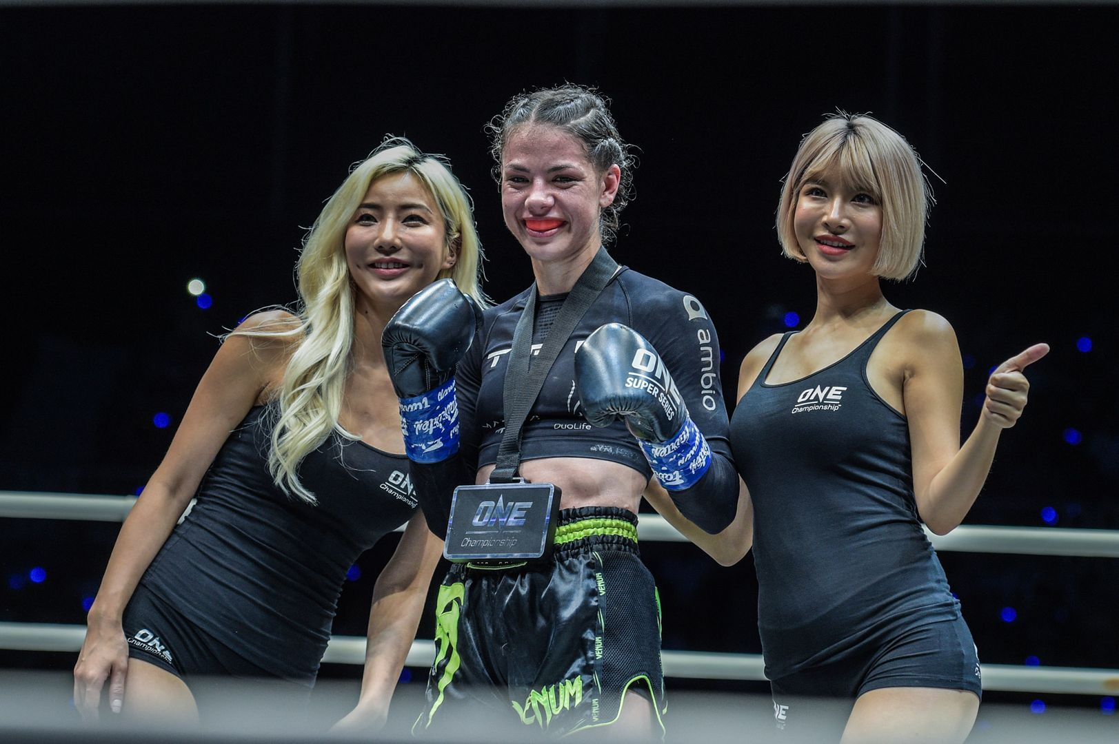 Viktoria Lipianska celebrates her win against Amber Kitchen at ONE: IMMORTAL TRIUMPH via split decision