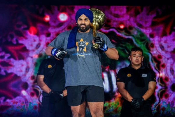 Indian mixed martial artist Arjan Bhullar enters the arena for his debut
