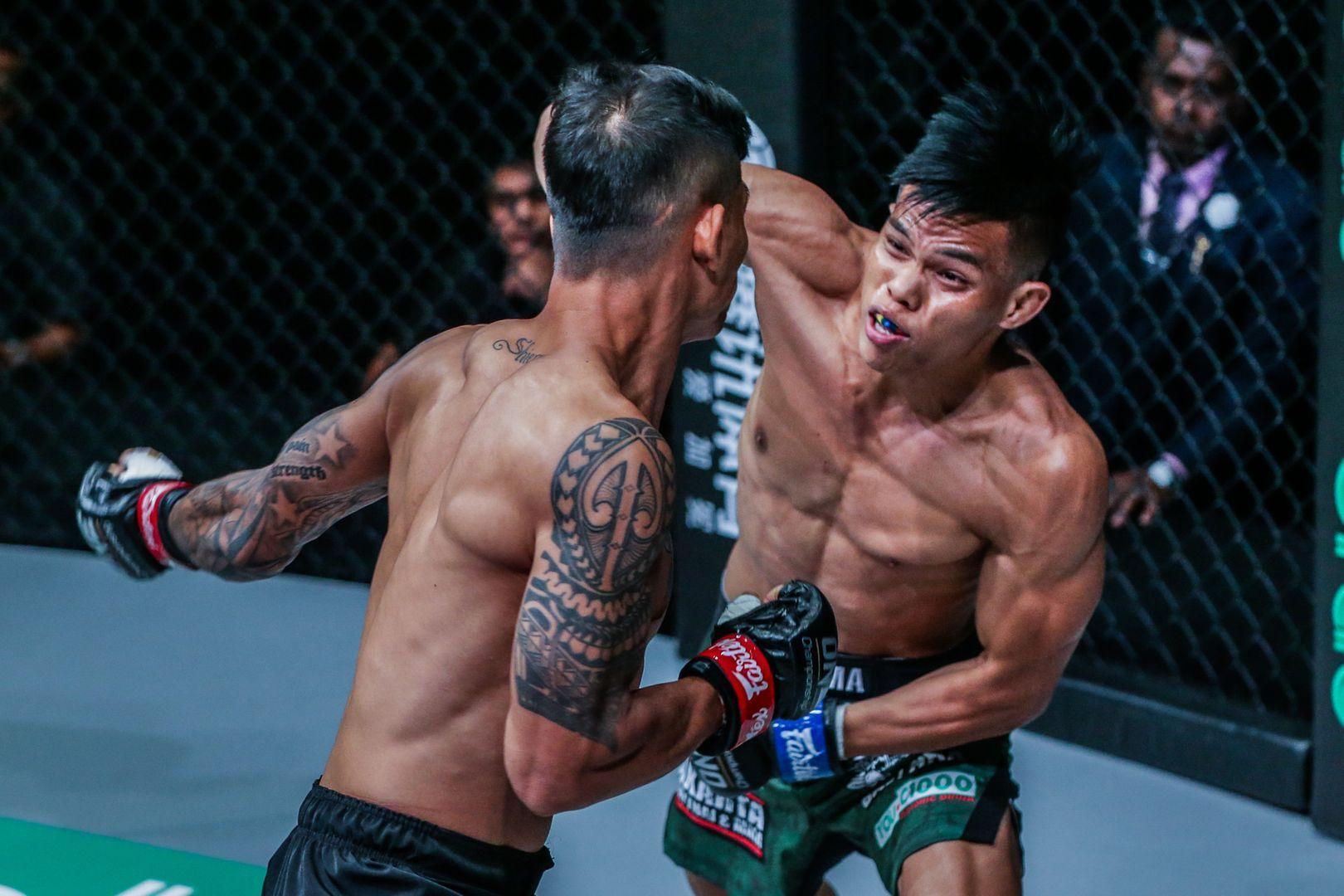 Indonesian wrestling champion Elipitua Siregar shows off his striking in Jakarta, Indonesia in October 2019
