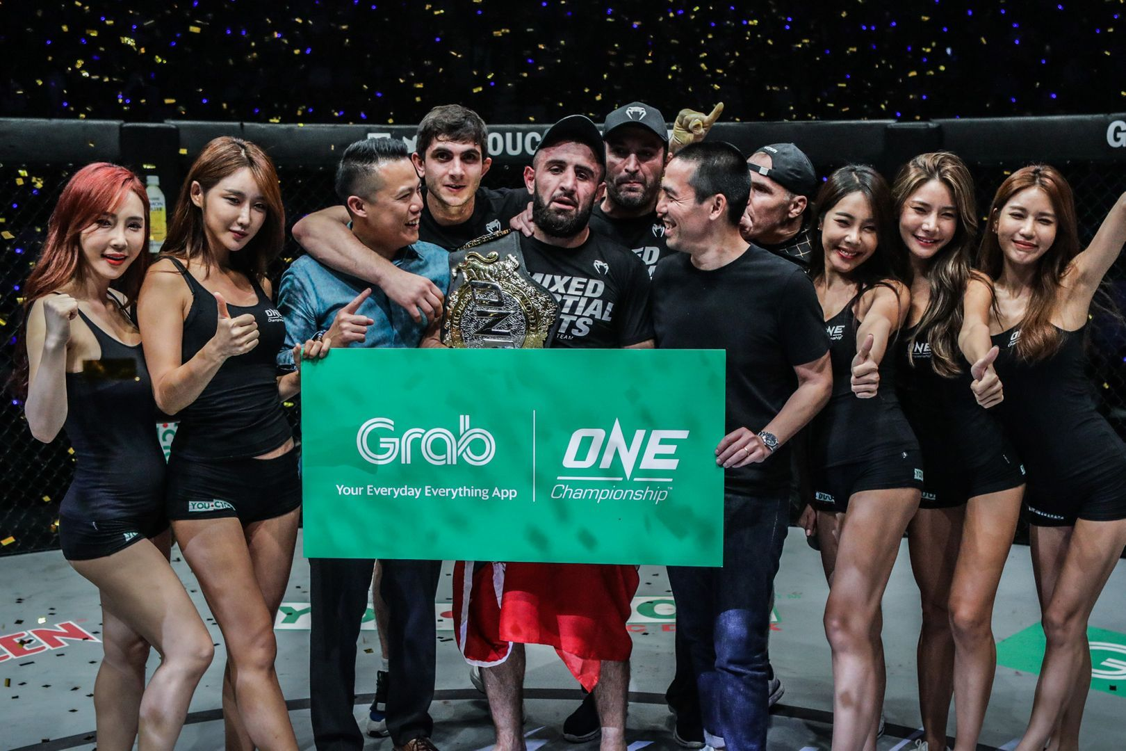 New ONE Welterweight World Champion Kiamrian Abbasov following his win in Jakarta, Indonesia in October 2019