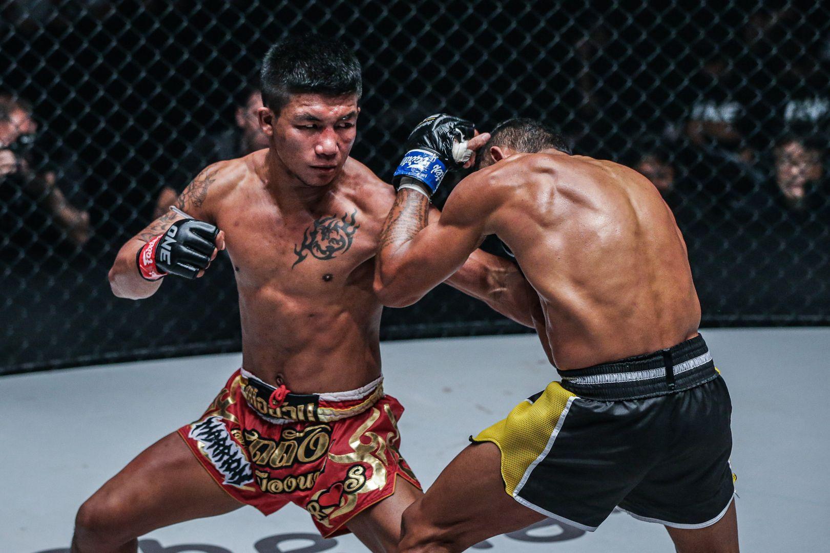 ONE Flyweight Muay Thai World Champion Rodtang Jitmuangnon winds up for a cross