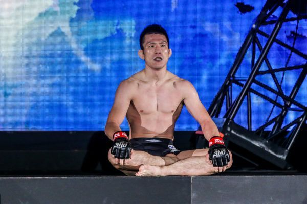 Former ONE Lightweight World Champion Shinya Aoki sits on the ramp following his win over Honorio Banario