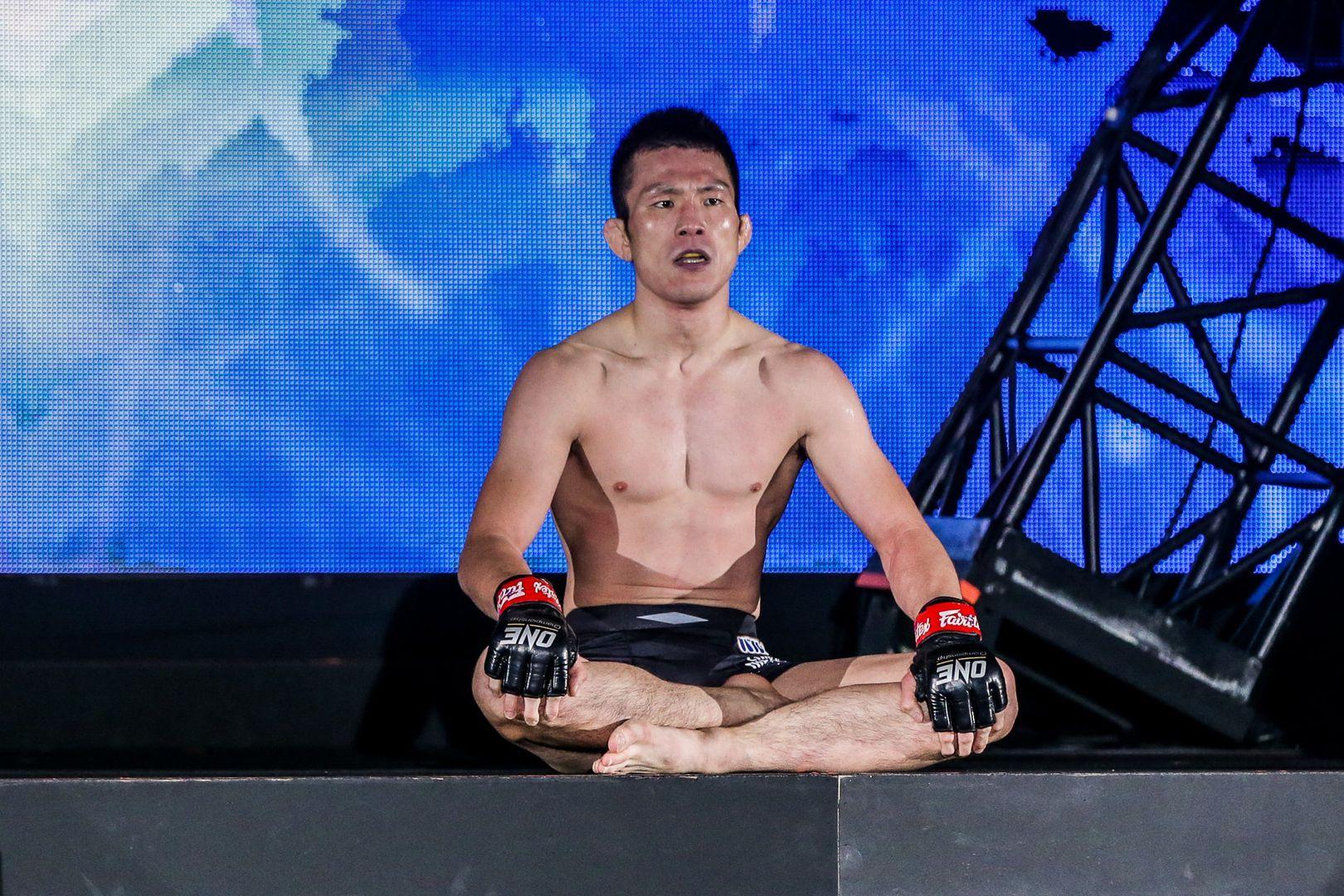 Former ONE Lightweight World Champion Shinya Aoki sits on the ramp following his win over Honorio Banario
