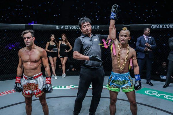 Wang Junguang celebrates his win against Federico Roma at ONE DAWN OF VALOR
