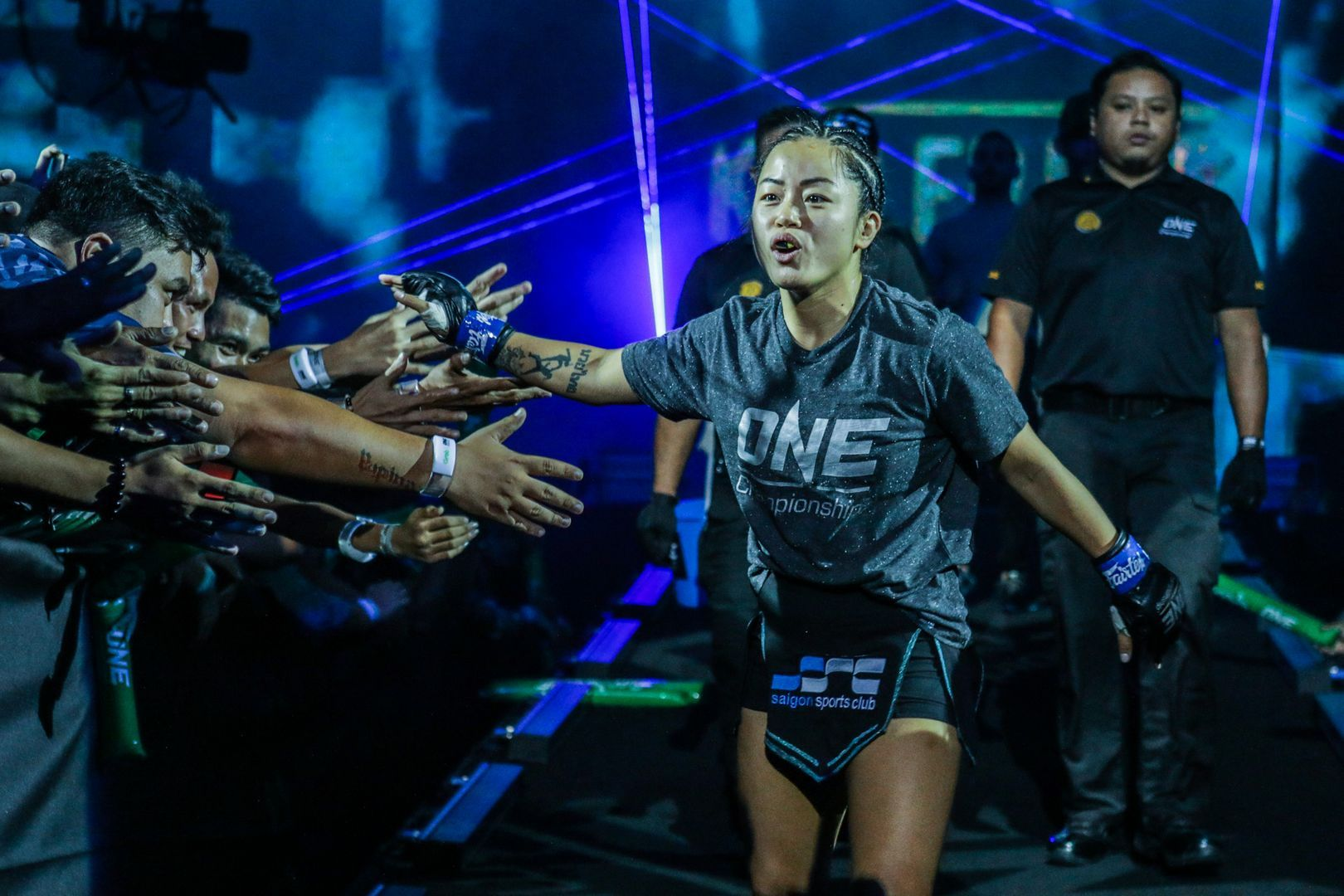 Bi Nguyen walks to the ring for her bout at ONE: MASTERS OF FATE in Manila, Philippines