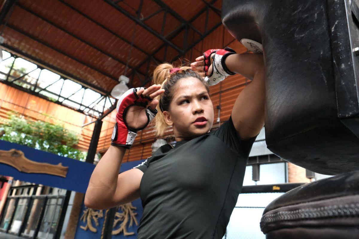 Philippine mixed martial arts Denice Zamboanga trains at the Fairtex Training Center in Pattaya